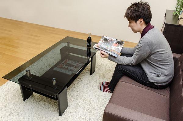 COSMOガラスセンターテーブル120 天板クリア&脚黒