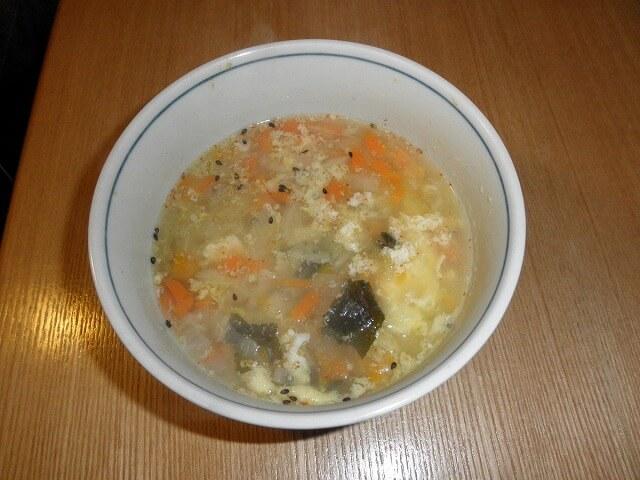 朝食の野菜スープ
